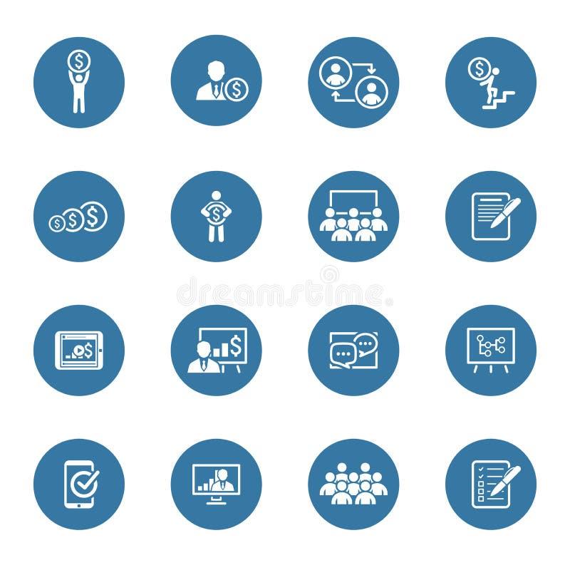 Uppsättning för affärscoachningsymbol lära online Plan design royaltyfri illustrationer
