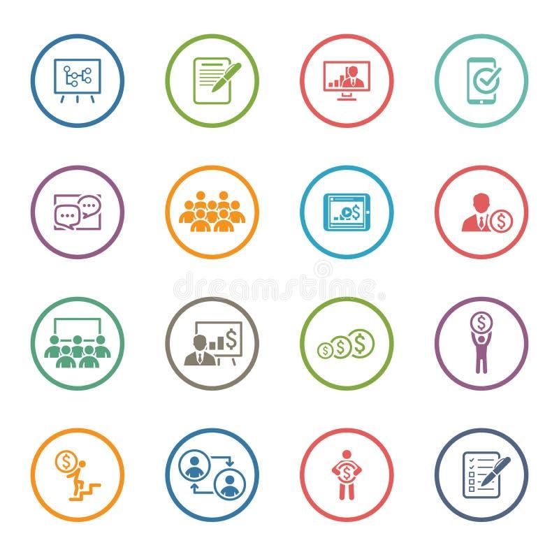 Uppsättning för affärscoachningsymbol lära online Plan design