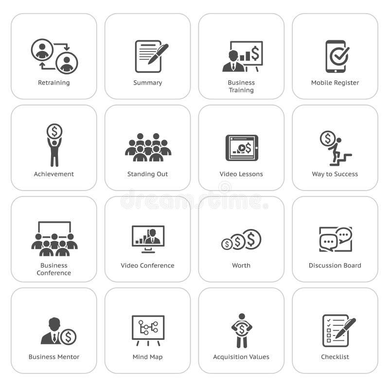 Uppsättning för affärscoachningsymbol lära online Plan design vektor illustrationer