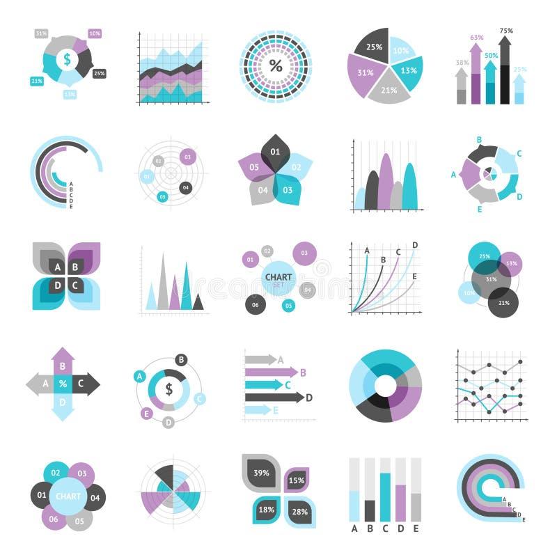 Uppsättning för affärsdiagram royaltyfri illustrationer