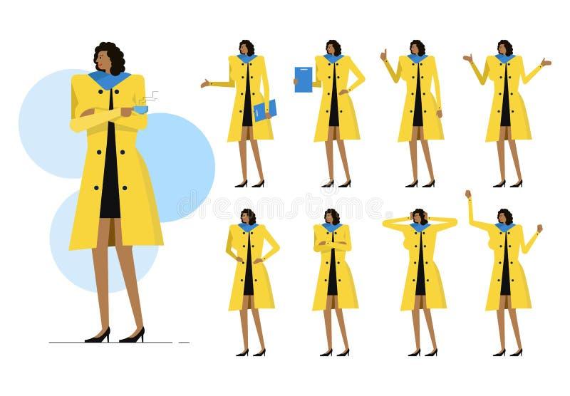 Uppsättning för affärskvinna royaltyfri illustrationer