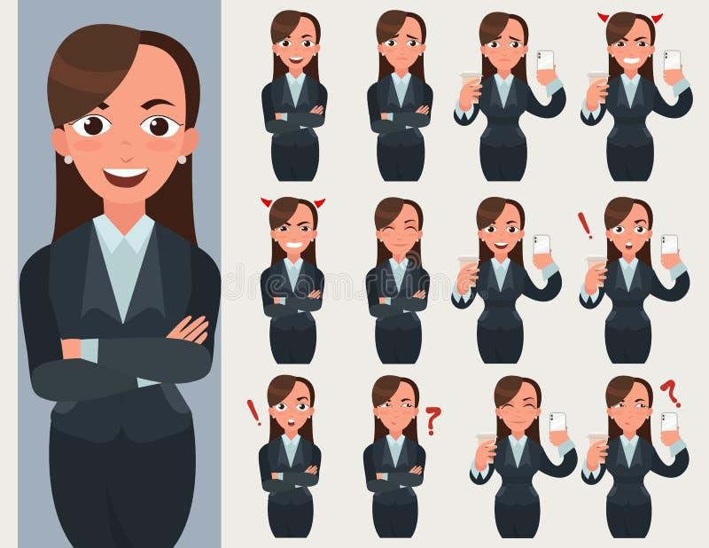 Uppsättning för affärskvinna Kontorsarbetaren med olika sinnesrörelser och poserar vektor illustrationer