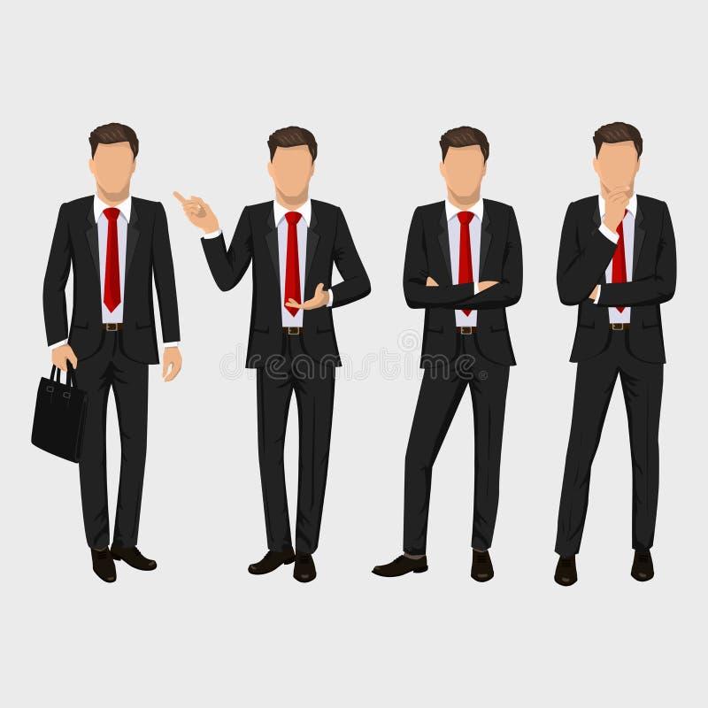 Uppsättning för affärsman Vektorsamling av fulla längdstående av affärsmannen Elegant affärsman i en dräkt och ett band stock illustrationer