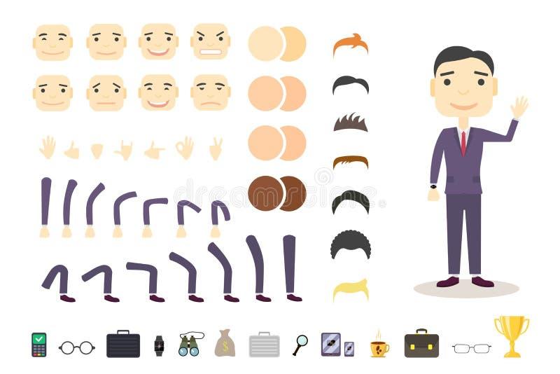 Uppsättning för affärsmanteckenskapelse Bygg din egen design stock illustrationer