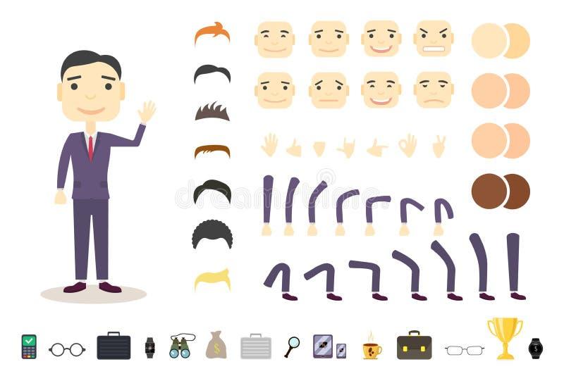 Uppsättning för affärsmanteckenskapelse Bygg din egen design Tecknad filmvektorlägenhet-stil Vit bakgrund vektor stock illustrationer