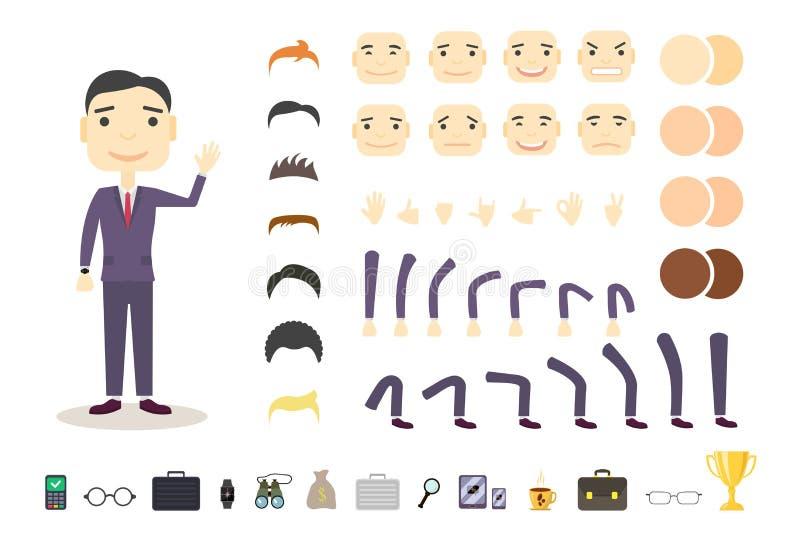 Uppsättning för affärsmanteckenskapelse Bygg din egen design Tecknad filmvektorlägenhet-stil Vit bakgrund vektor royaltyfri illustrationer