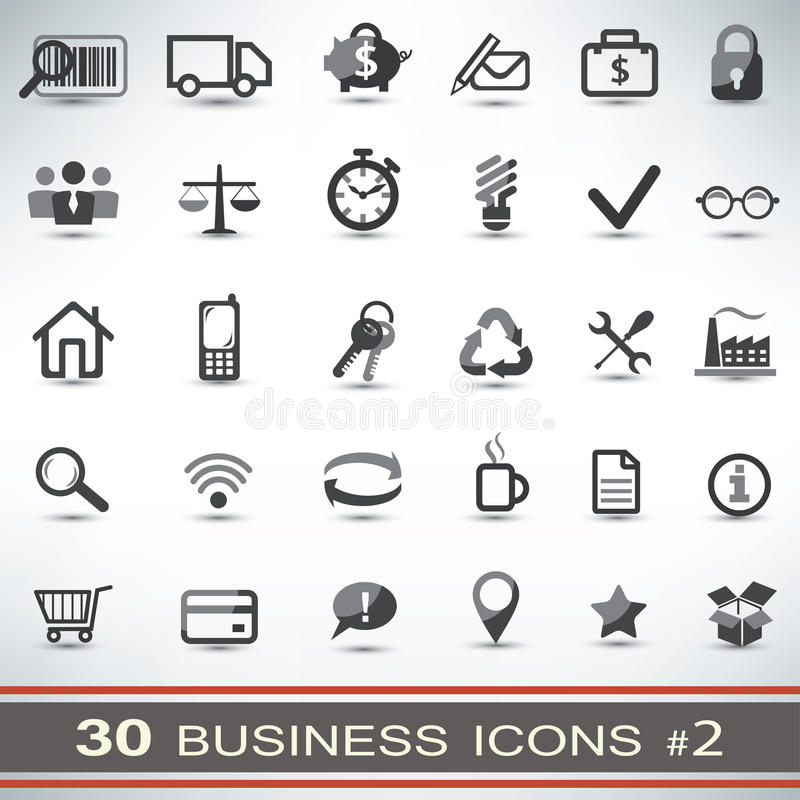 uppsättning för 30 affärssymboler royaltyfri illustrationer
