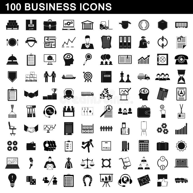 uppsättning för 100 affärssymboler, enkel stil vektor illustrationer