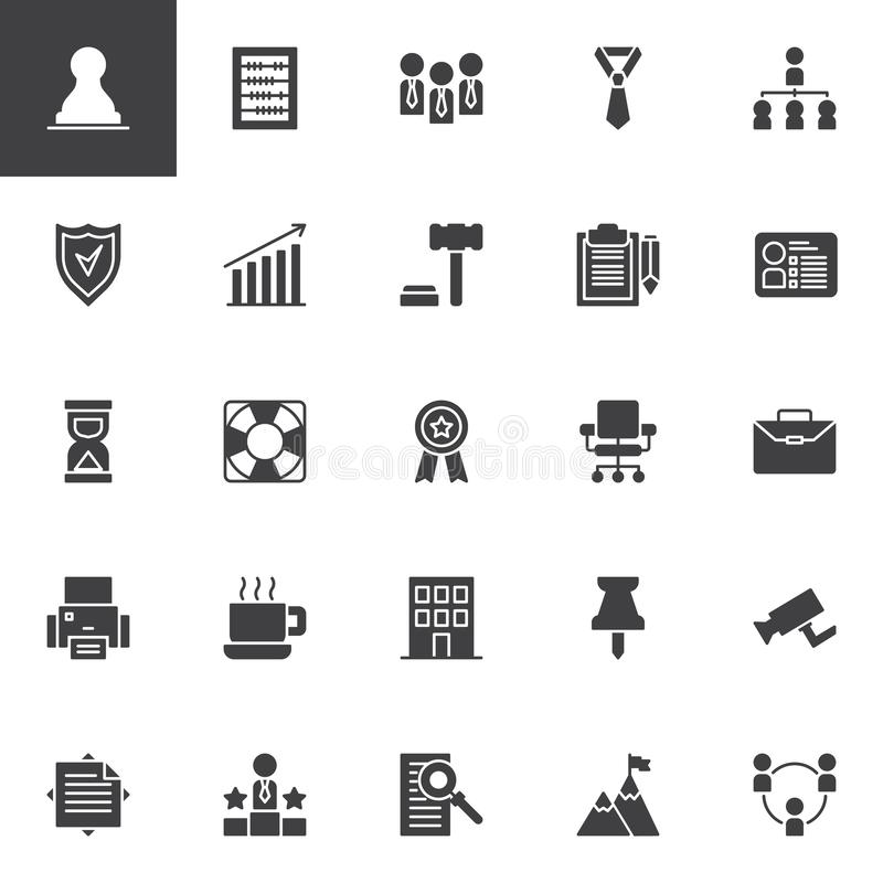 Uppsättning för affärsvektorsymboler stock illustrationer