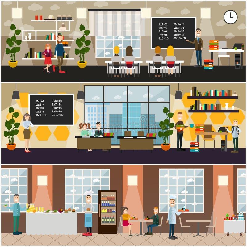 Uppsättning för affisch för lägenhet för skolabegreppsvektor vektor illustrationer