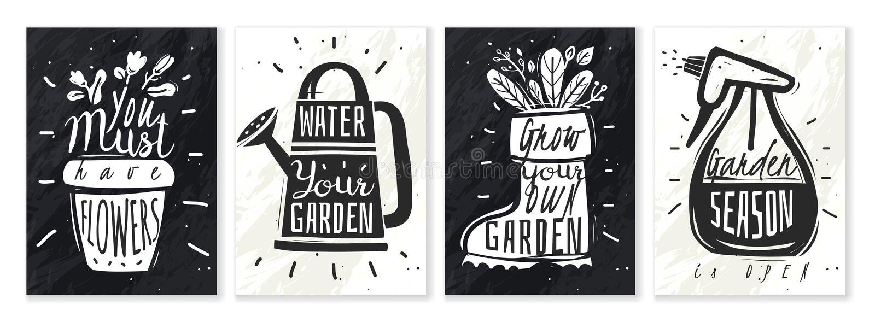 Uppsättning för affischer för krita för trädgårdväxter vektor illustrationer