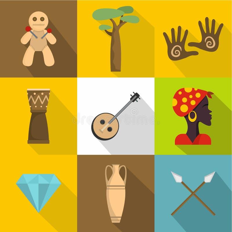 Uppsättning för Afrika landsymboler, lägenhetstil vektor illustrationer