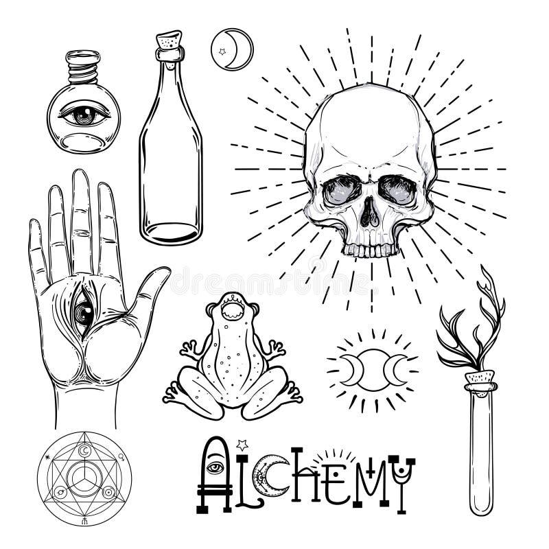 Uppsättning för alkemisymbolsymbol Andlighet ockultism, kemi, mag royaltyfri illustrationer