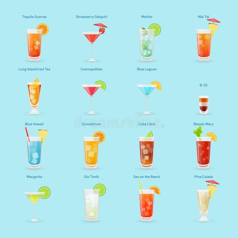 Uppsättning för alkoholdrink- och coctailsymbol royaltyfri illustrationer