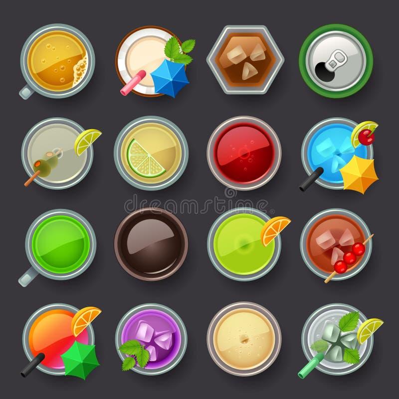 Uppsättning för alkoholdryck- och coctailsymbol stock illustrationer