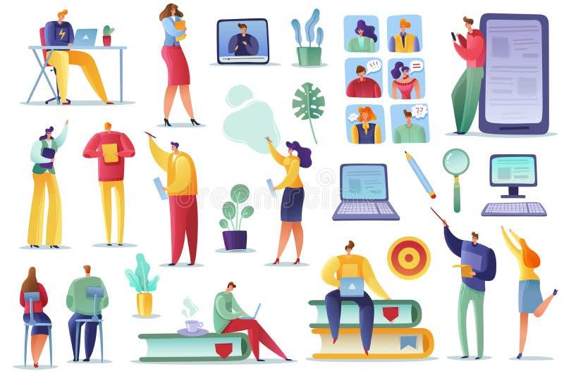 Uppsättning för anställdsökandeutbildning affärsfolk som hyr granska meritförteckningar som framlänges utbildar tecknade filmen f stock illustrationer
