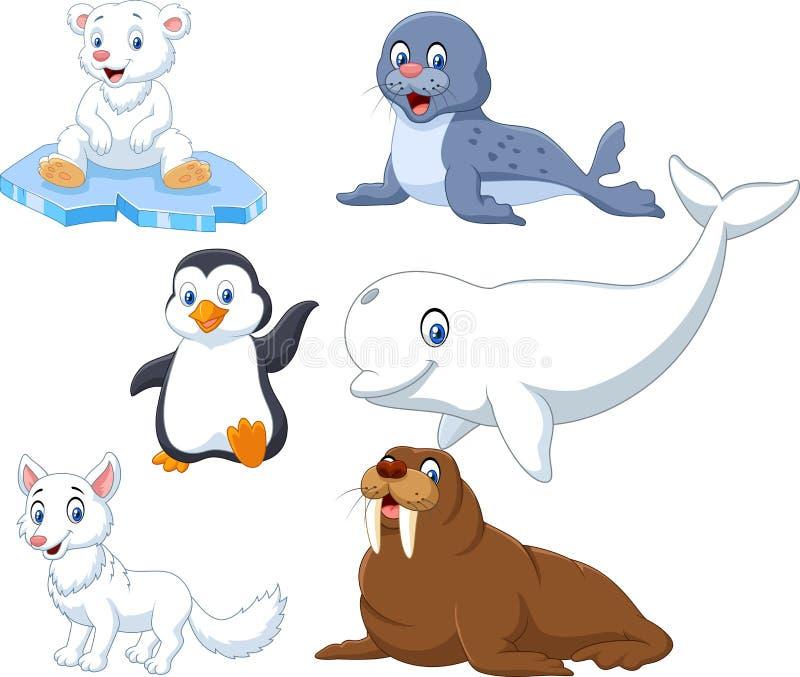 Uppsättning för arktiskdjursamling stock illustrationer