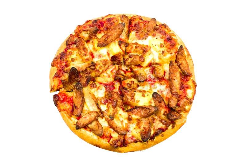 Uppsättning för ask för korvpizza på vit bakgrund Stängt upp Cli royaltyfri foto