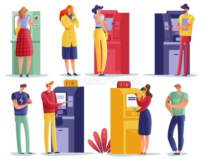 Uppsättning för ATM-betalningfolk royaltyfri illustrationer