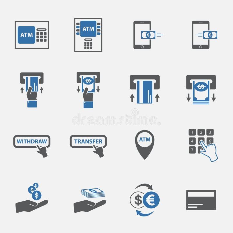 Uppsättning för ATM- och pengaraffärssymbol stock illustrationer