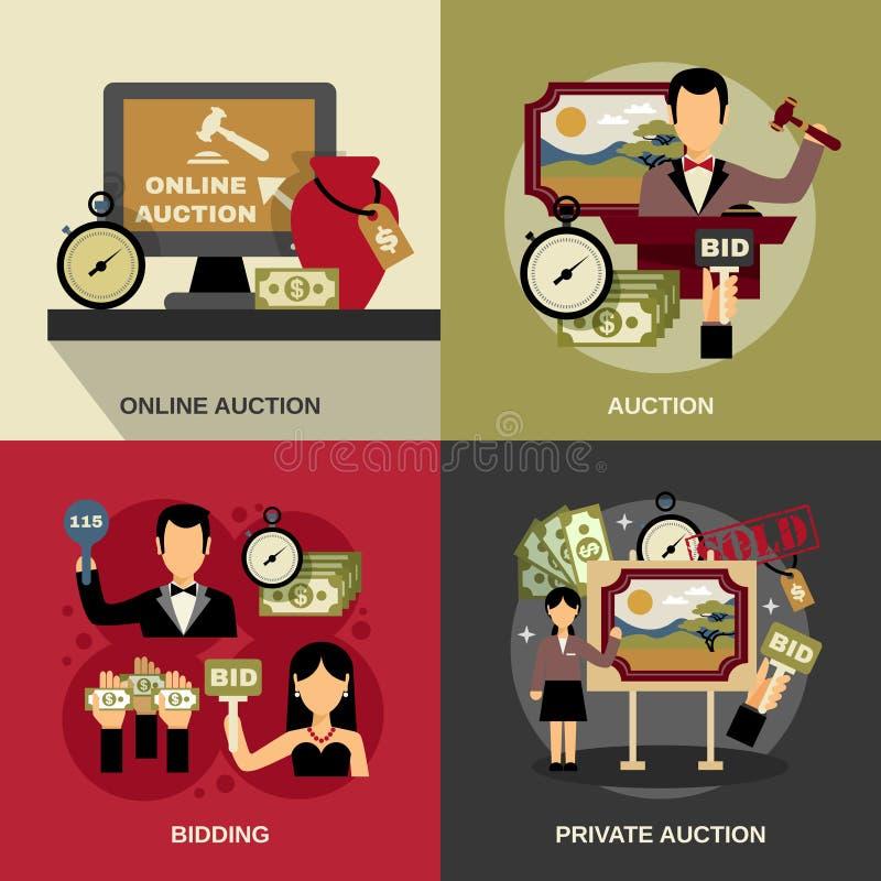 Uppsättning för auktionbegreppssymboler vektor illustrationer