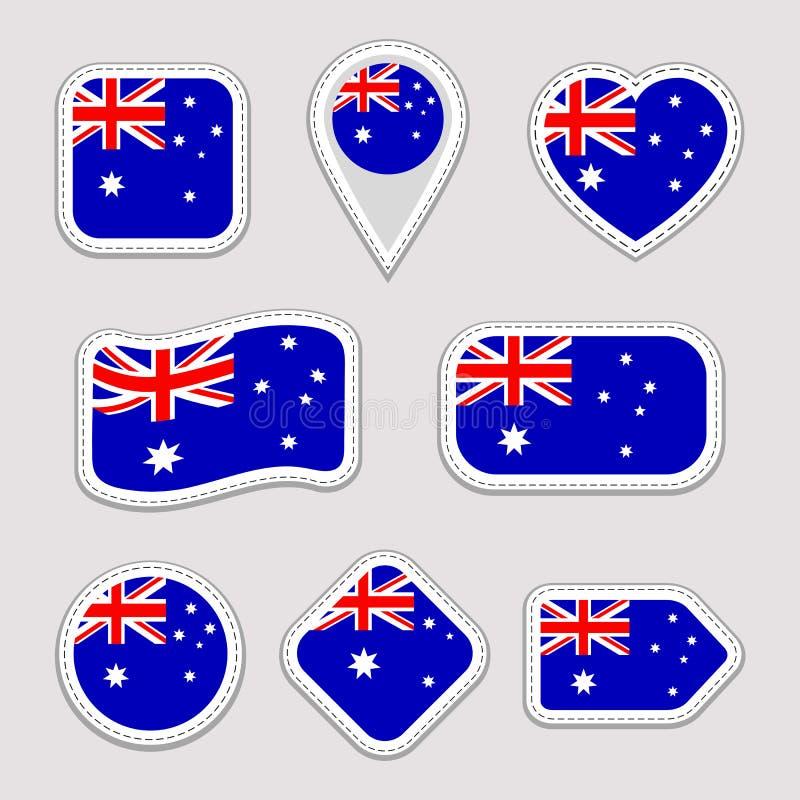 Uppsättning för Australien flaggaklistermärkear Australiska emblem för nationella symboler Isolerade geometriska symboler Vektorr stock illustrationer