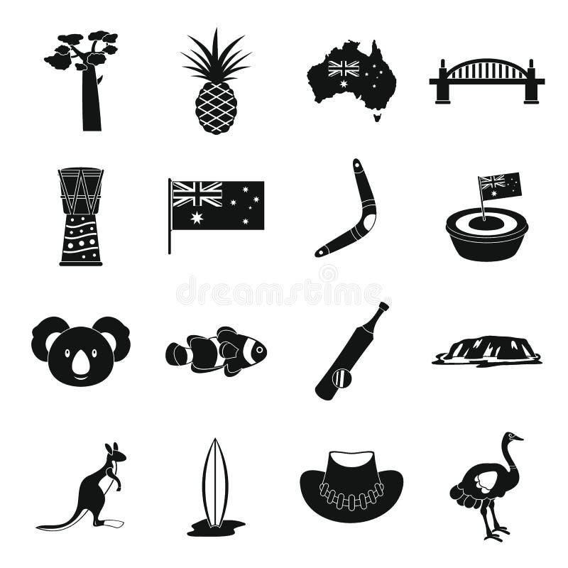 Uppsättning för Australien loppsymboler, enkel stil royaltyfri illustrationer