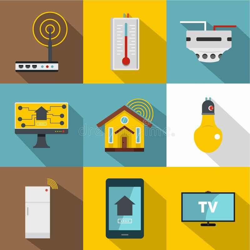 Uppsättning för automationteknologisymbol, lägenhetstil royaltyfri illustrationer