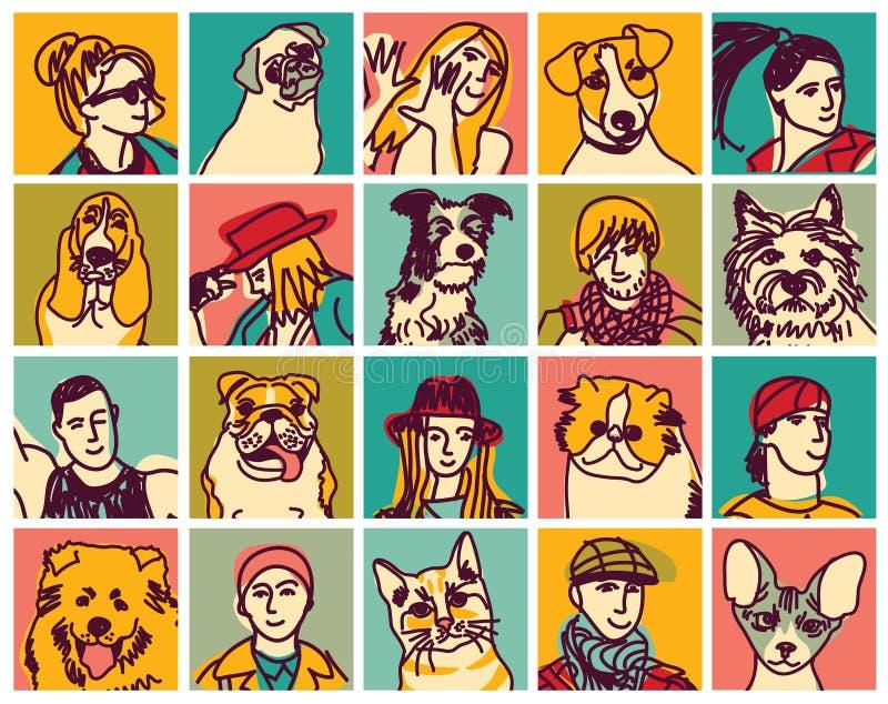 Uppsättning för avatars för folk- och husdjurhuvudsymboler stock illustrationer