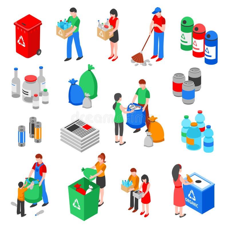 Uppsättning för avskrädeåtervinningbeståndsdelar stock illustrationer