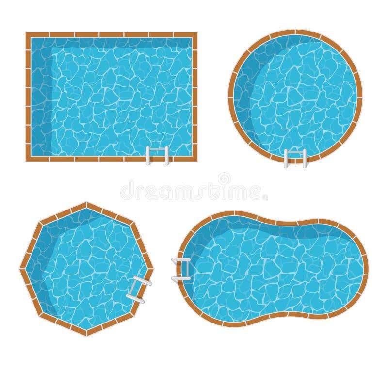 Uppsättning för bästa sikt för simbassänger som isoleras på vit bakgrund stock illustrationer