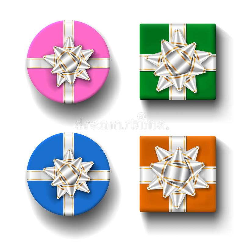 Uppsättning för bästa sikt för gåvaaskar, isolerad vit bakgrund Silverbandpilbåge på färggiftbox Närvarande design för jul royaltyfri illustrationer