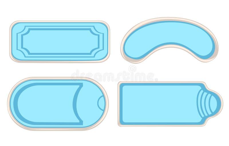 Uppsättning för bästa sikt för simbassänger som isoleras på vit bakgrund Webbplatssida- och för mobilapp-design beståndsdel vektor illustrationer