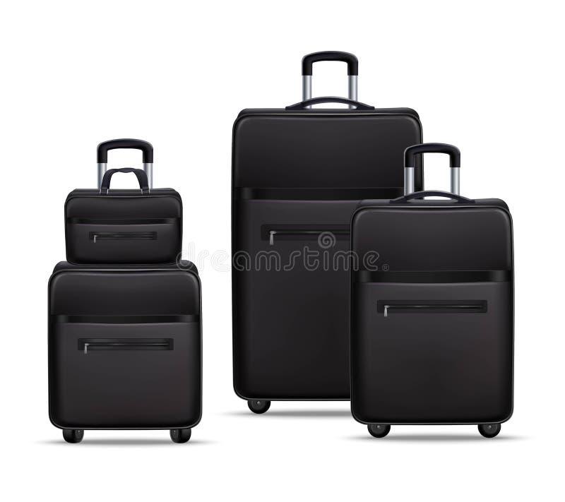 Uppsättning för bagage för svart för affärslopp realistisk vektor illustrationer
