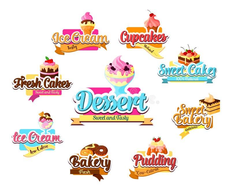 Uppsättning för bageriefterrätt-, bakelse- och glasssymbol stock illustrationer