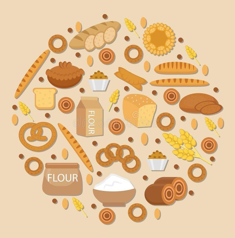 Uppsättning för bageriproduktsymbol i en rund form, lägenhetstil av olikt bröd och bakelse som isoleras på vit bakgrund stock illustrationer