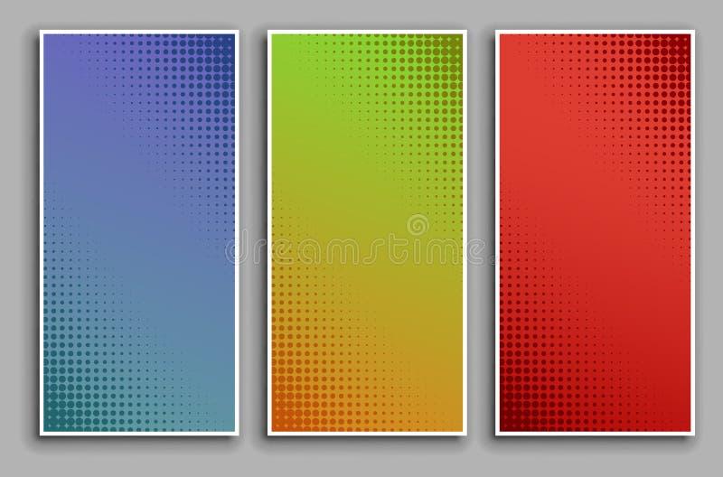 Uppsättning för bakgrund för popkonst med rastrerade prickar, retro komisk prickig bakgrundsdesign för vektor stock illustrationer