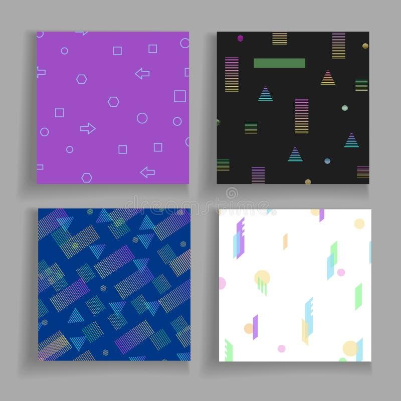 Uppsättning för bakgrunder för Abstrct geometri kaotisk vektor illustrationer