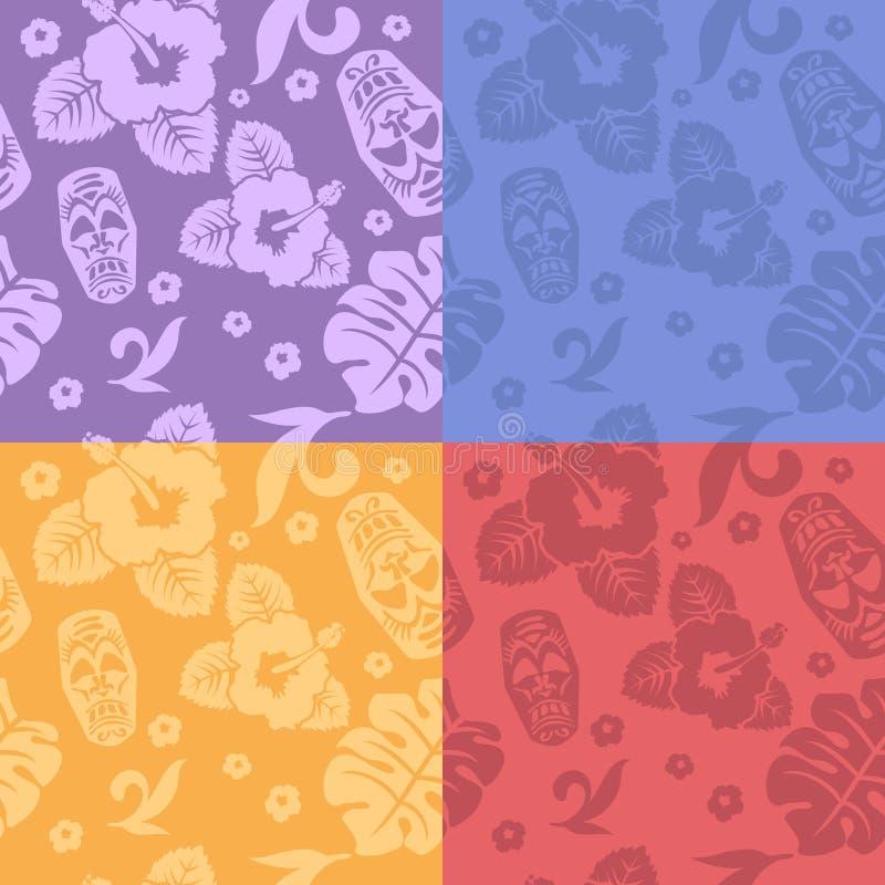 Uppsättning för bakgrunder för hawaiiboaloha skjorta sömlös royaltyfri illustrationer