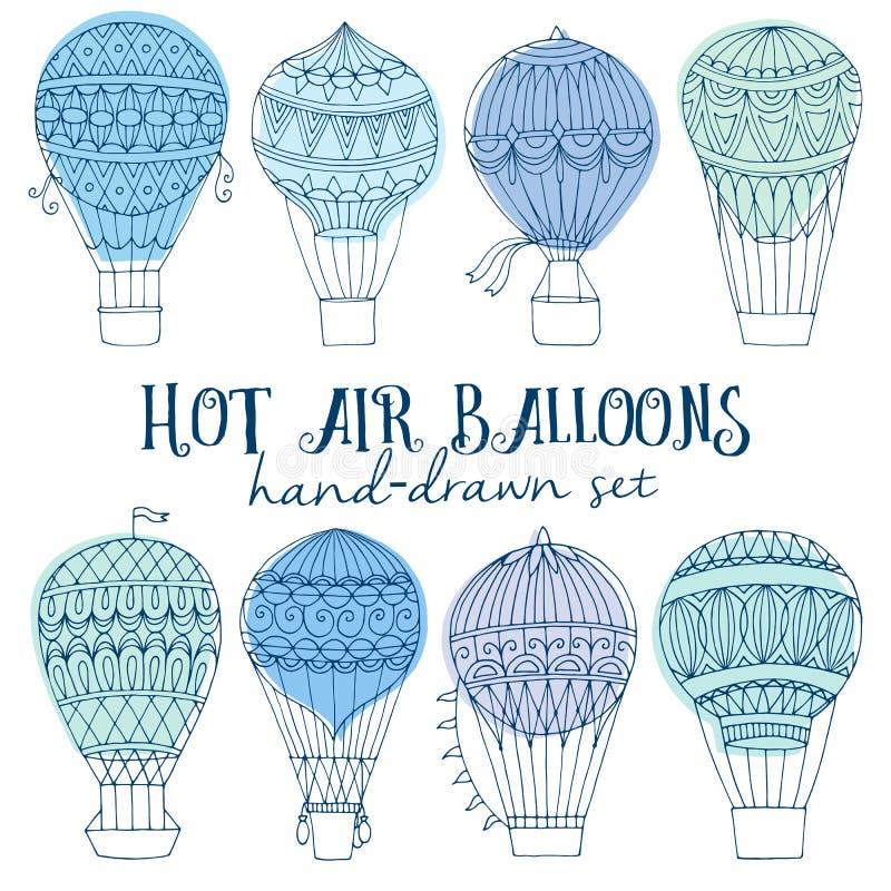Uppsättning för ballong för varm luft stock illustrationer