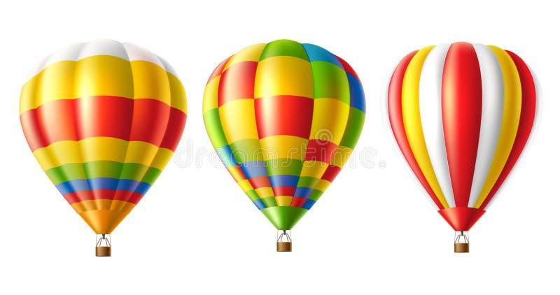 Uppsättning för ballong för varm luft för vektor isolerad färgrik stock illustrationer