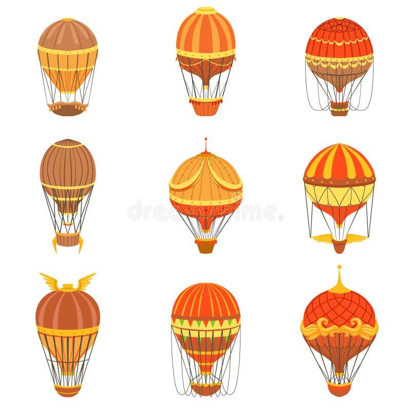 Uppsättning för ballonger för varm luft för tappning stock illustrationer