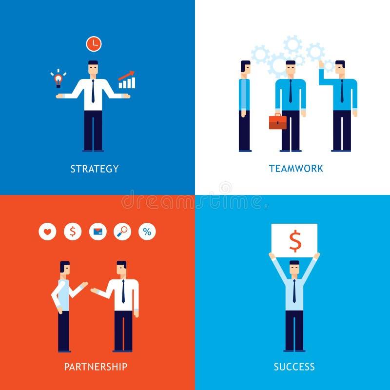 Uppsättning för baner för design för lyckad för affärsteamworkstrategi framgång för partnerskap plan stock illustrationer