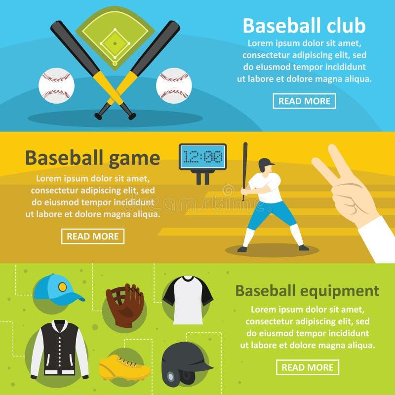 Uppsättning för baner för baseballklubba horisontal, lägenhetstil vektor illustrationer