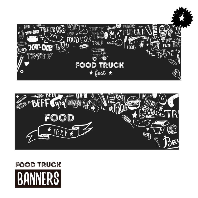 Uppsättning för baner för gatamatfestival Räcka utdragen bokstäver med klotter på mörk bakgrund Design för matlastbilbefordran stock illustrationer