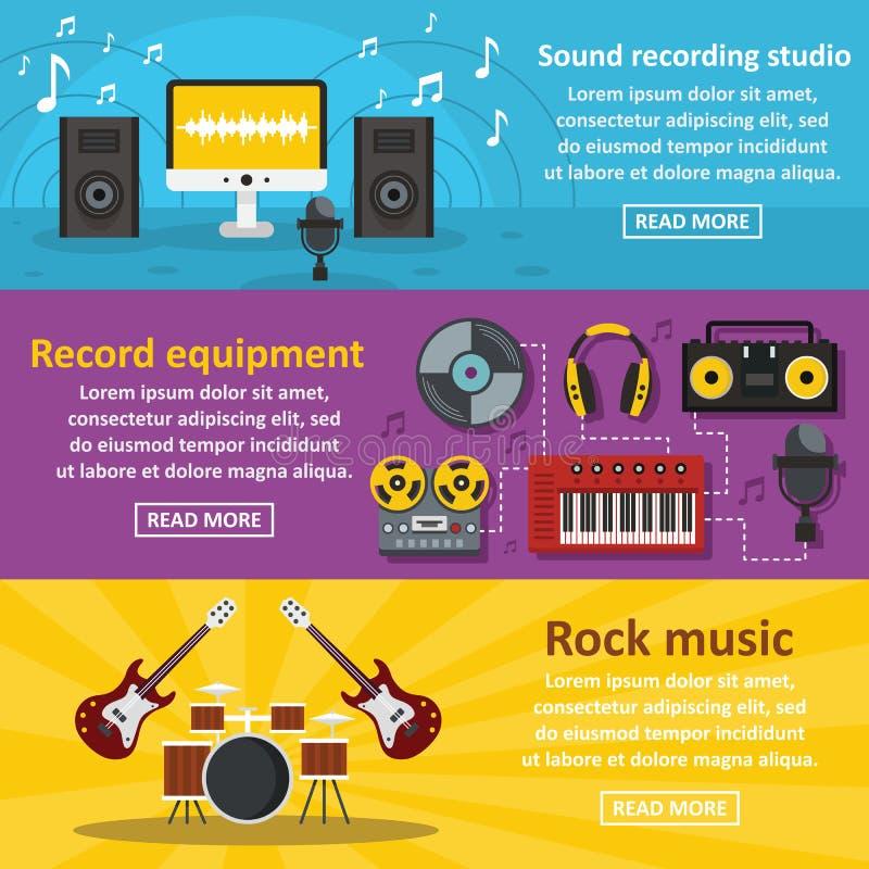 Uppsättning för baner för inspelningstudio horisontal, lägenhetstil royaltyfri illustrationer