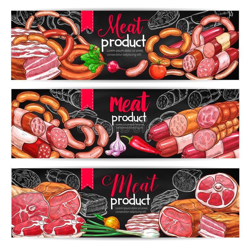 Uppsättning för baner för kött- och korvmenysvart tavla stock illustrationer