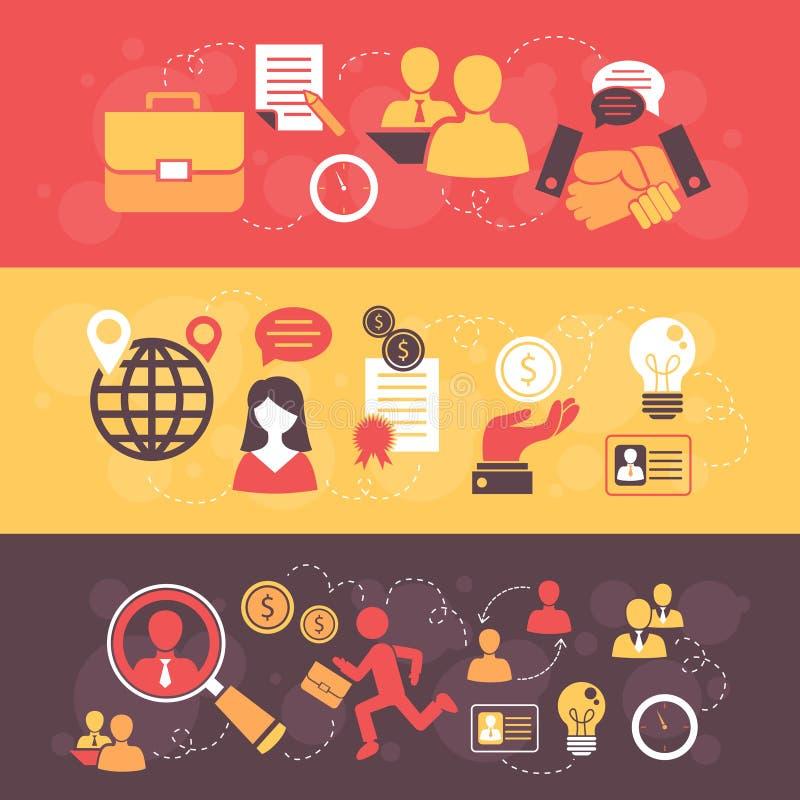Uppsättning för baner för lägenhet för jobbintervju stock illustrationer