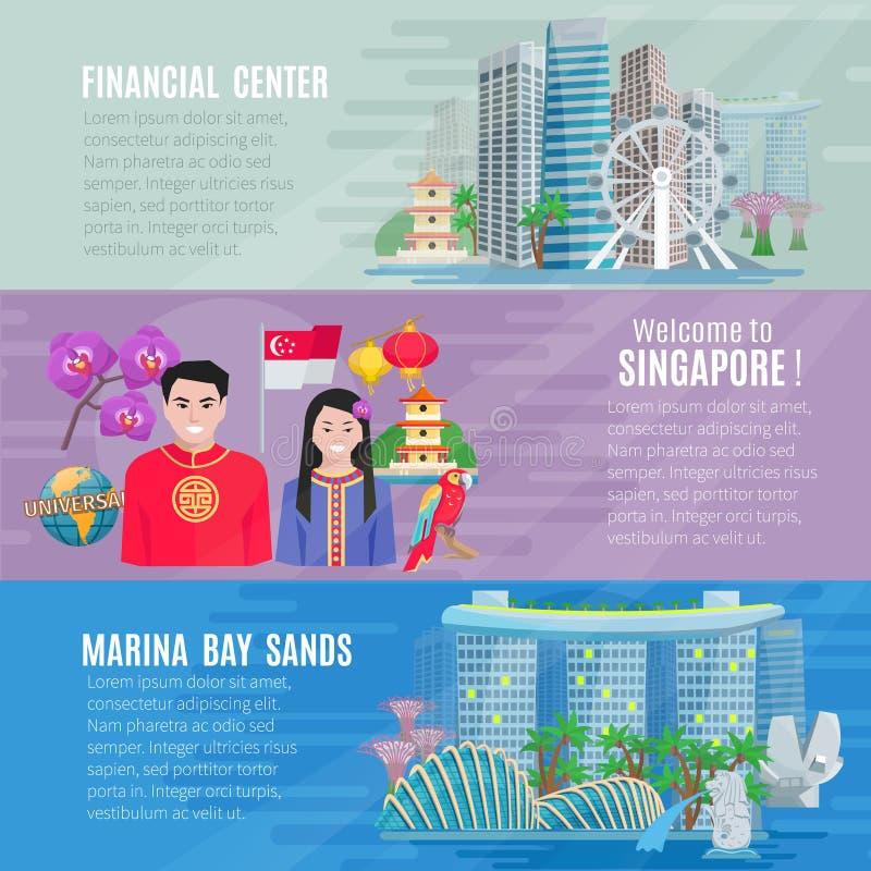 Uppsättning för baner för Singapore kultur 3 horisontal stock illustrationer