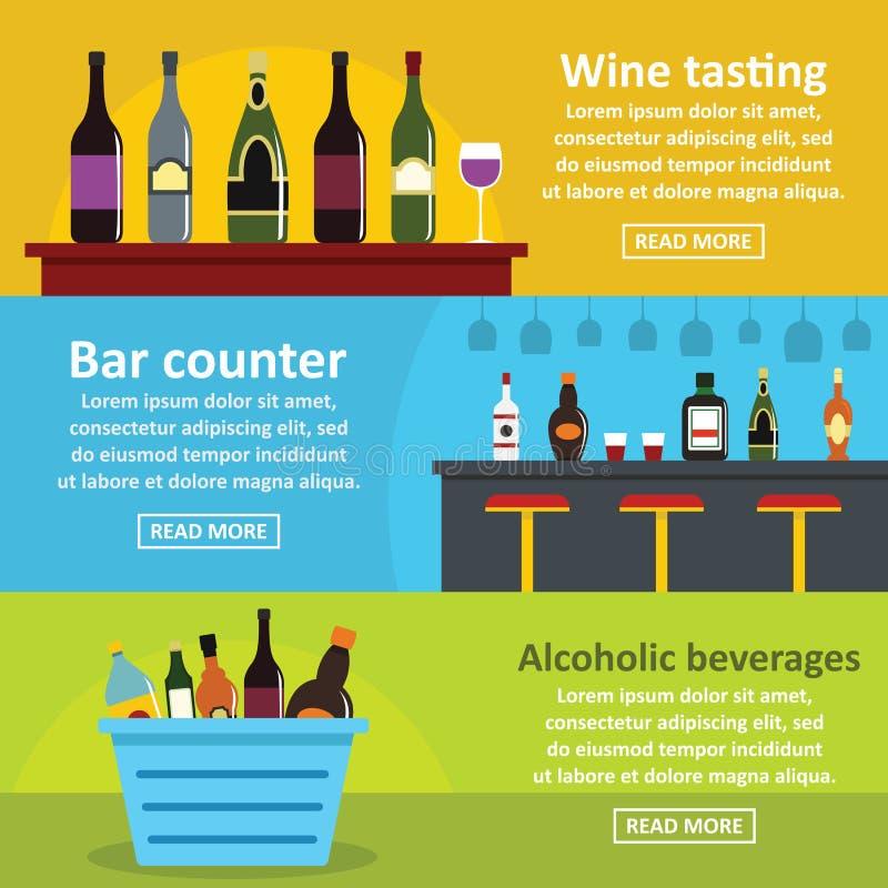 Uppsättning för baner för stång för vinavsmakning horisontal, lägenhetstil stock illustrationer